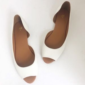 H&M never worn white open toe flats